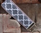 Beautiful Key Fob/Keychain/Wristlet- White Quatrefoil On Gray-READY TO SHIP