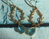 Blue Topaz Wreath Chandelier Earrings
