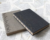 Large Hardcover Coptic Bound Journal in Metallic Gray or Natural Linen