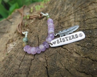 2 Matching Sisters Necklaces - Sister Gift - Long Suede Boho Luxe - Amethyst Jasper - Feather Words - Brown Earthy Bohemian Lilac - Gypsy