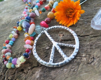 Boho Peace Sign Chakra Necklace - Long Rainbow Stone Crystal Jewelry - Long Silver Bohemian - OOAK Festival Boho One Love - Colorful Gypsy