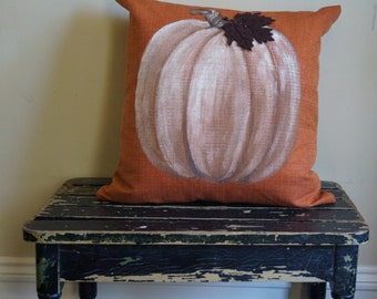 Pumpkin Pillow with felted leaf - painted silk pillow - autumn - Halloween - Thanksgiving - fall
