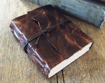 "Leather Travel Journal - ""THE GOOD TRAVELER"" - Lao Tzu quote . Handmade Handbound . dark brown (320pgs)"