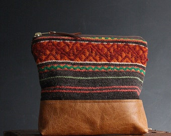 Tribal Clutch.  Neon Bag. Peruvian Bag. Brown Leather Wristlet.