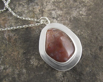 Handmade Sterling Silver Pendant - Nature's Abstract Lake Superior Agate Drop Pendant