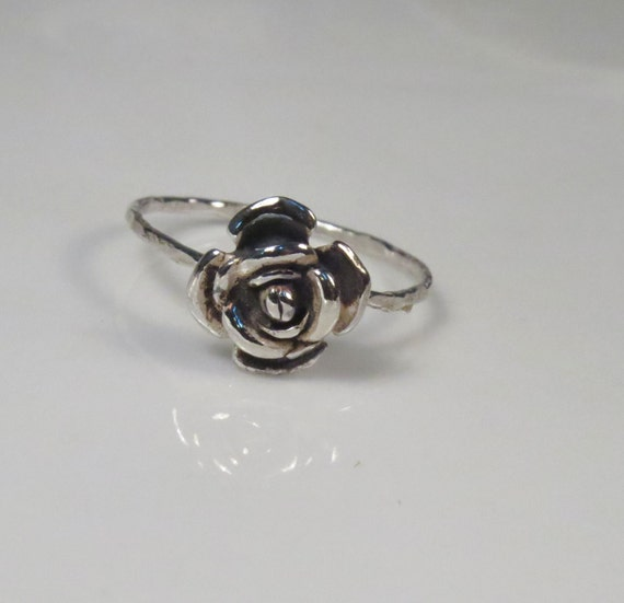 Rose engagement ring sterling silver, Silver rose ring, stackable ring, Skinny ring