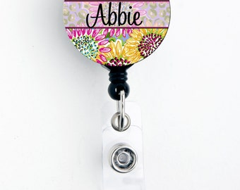 Retractable ID Badge Holder - Personalized Name - Bright Sunflower - Choice of Badge Reel, Carabiner, Lanyard, Steth Tag