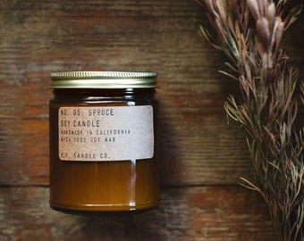No. 05: SPRUCE - 7.2 oz soy wax candle - winter pine forest / fir woods / cedar - P.F. Candle Co.