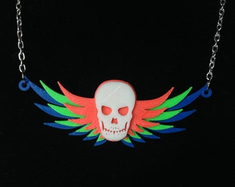 3D Printed Glow-in-the-Dark Winged Skull Necklace