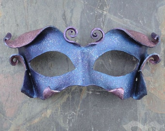 Sparkling Faerie Leather Mask - Iridescent Sprite or Fairy Costume In Shimmery Blue And Lavender