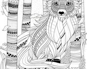 Fox in the Woods Coloring Page, Printable Coloring Pages, Adult Coloring Pages, Hand Drawn, Digital Illustration, INSTANT DOWNLOAD PRINT