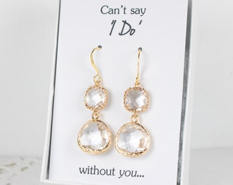 Long Crystal Gold Earrings, Clear Gold Drop Earrings, Crystal Gold Earrings, Bridesmaid Earrings, Bridesmaid Gift, Wedding Jewelry