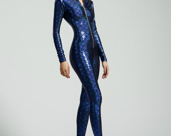Royal Blue Mermaid Holographic Bodysuit- Free Shipping
