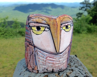 "Owl art, ceramic owl figurine, 3-5/8"" tall, ""Owl Person, Ancient One"""