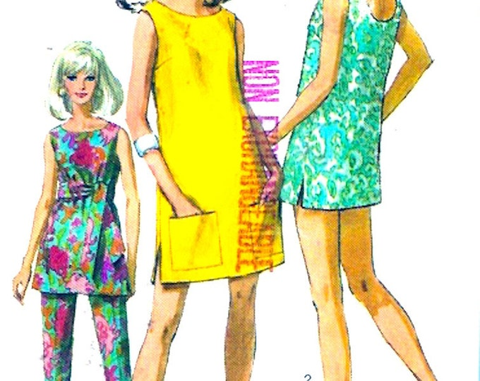60s Summer minidress Blouse pants Hipster Mod retro Beach vintage sewing pattern Simplicity 7644 Size 10