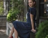 Vintage Navy Polka Dot Sailor Girl Dress (Petite/X-Small or Girls Size 14)