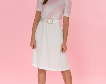 Vintage Pink And White Striped Day Dress (Size Small)