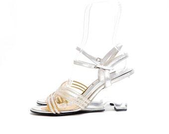 Size 7// 70s Vintage Lucite Pumps // Silver Metallic Vinyl Disco Open toe Strappy Shoes// 70s Plastic Heels// 116