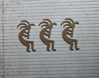 3 Bare Chipboard Kokopelli Flute Player Diecuts 1 5/8 inches w x 3 inches tall