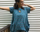 Om Tunic - ONE SIZE fits S-XL, fair trade cotton handmade tunic, silk screen print, loose fit, eco friendly shirt, nomad clothing, yoga wear
