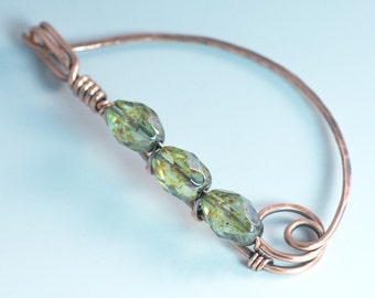 Copper Sweater Pin with Pine Green Czech Glass Beads / Handmade Copper Fibula / Copper Shawl Pin