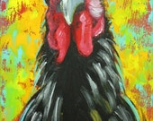 Rooster 772 12x24 inch animal portrait original oil painting by Roz