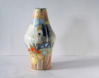 Antique Nippon Vase, Art Deco Pottery, Gold Moriage Hand Painted Pottery, Royal Nishiki Vase, Iris Flowers, Art Pottery, Geometric Design