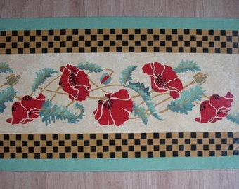 Floorcloth with Poppies and Checks 4 1/2 feet long