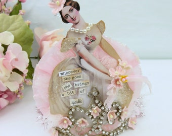 Shabby PINK Altered Vintage Tiara Crown