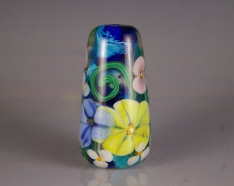 Lampwork Glass Focal Bead, Encased Floral in Blue, Yellow and Pink