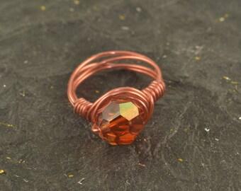 Shiny Copper SWAROVSKI Crystal Bead Wire Wrapped Ring Size 7