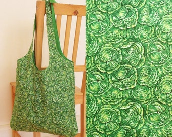 Green cabbage tote bag - light-weight, lined, ready to ship