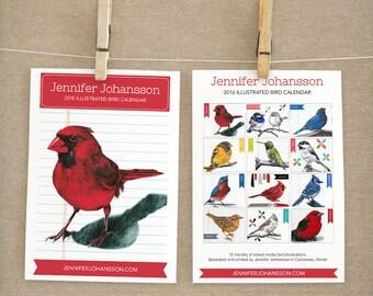 2016 Wall Calendar - Bird Calendar - 2016 Calendar - Art Calendar -Bird Lover Gift- Art Sampler - Under 25