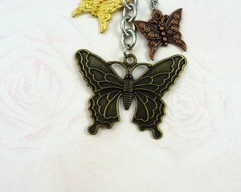 Butterfly Trio Charm Keychain