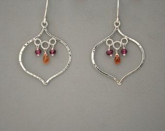 Sterling silver lotus and gemstone handmade earrings with hessonite and garnet, Rachel Wilder Handmade Jewelry
