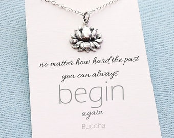 Mantra Necklace | Silver Lotus Necklace, Inspirational, Motivational, Boho, Yoga Necklace, Botanical | Sterling Silver| Y05