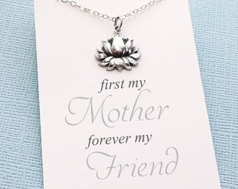 Mothers Necklace   Lotus Charm Necklace   Mother's Day Gift   Charm Necklace   Gift for Mom   Sterling Silver   M01