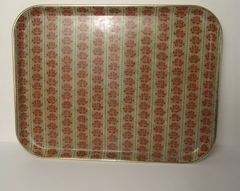 Vintage Floral Fiberglass Resin Tray Cafeteria Nordic Fair Isle Print Red Rose Bohemian Cozy Winter
