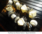 Black & White Chunky Contemporary Art Glass and Vintage Bead necklace