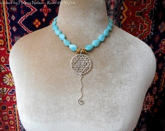 Semi precious amazonite & sterling Yantra pendant necklace beautiful natural color!