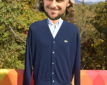 70s vintage cardigan sweater LACOSTE izod alligator navy blue v-neck golf Large Medium grandpa 80s