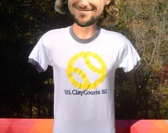 vintage 80s ringer t-shirt TENNIS us clay courts tournament 1982 Large Medium soft thin