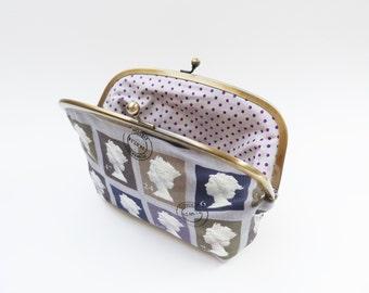 Cosmetic bag, British stamp design, cotton purse