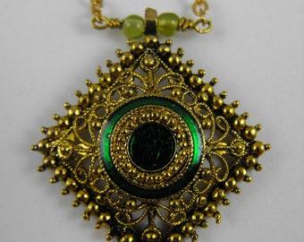 Beautiful Gold Enamel Center Diamond Shape Pendant  Necklace