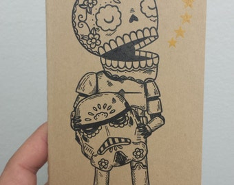 Unmasked Stormtrooper Calavera Moleskine Cahier Pocket Notebook Journal Ruled or Plain