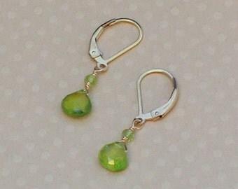 Green Peridot Earrings, August Birthstone, Gold Leverback, Peridot Jewelry, Small Dangle Earrings