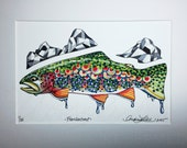 Limited Edition Watercolor Frankentrout Zentangle Gicleé Print 8.5x11 Conservation Matted to 11x14