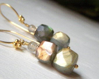 Labradorite Cube Earrings Gold Vermeil, Flashy Fiery Stacked Gemstone Dangle. Golden Green Labradorite Jewelry