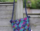 Cross Body Style Colorful Wool Purse in Blues Pinks and Greens