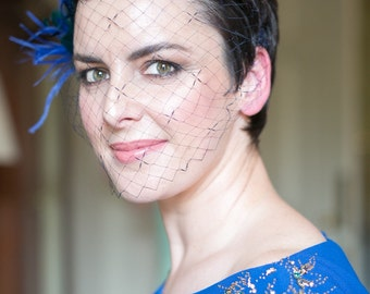 Navy Blue Birdcage Veil, Vintage Silk Veil & Navy Blue Feather Hair Clip